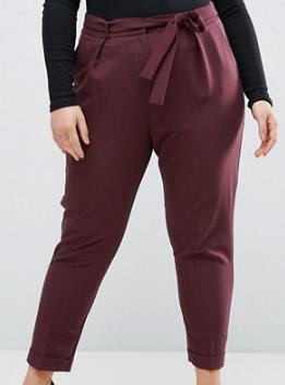 Plum Asos Woven Peg Pants w Obie Tie